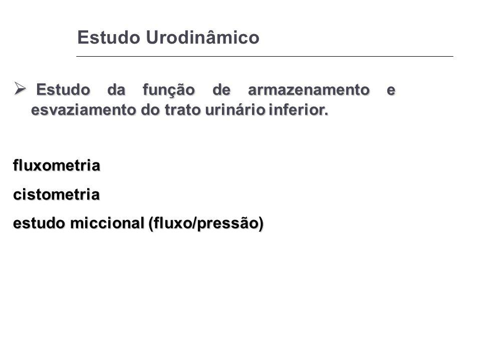 Estudo Urodinâmico Estudo da função de armazenamento e esvaziamento do trato urinário inferior. Estudo da função de armazenamento e esvaziamento do tr