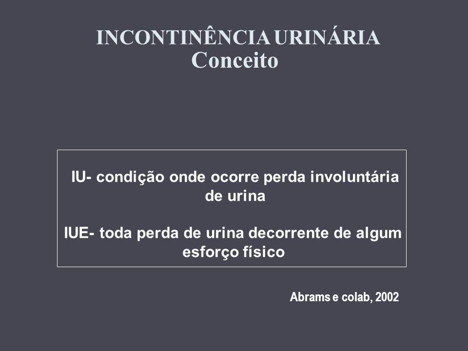 INCONTINÊNCIA URINÁRIA Conceito IU- condição onde ocorre perda involuntária de urina IUE- toda perda de urina decorrente de algum esforço físico Abram