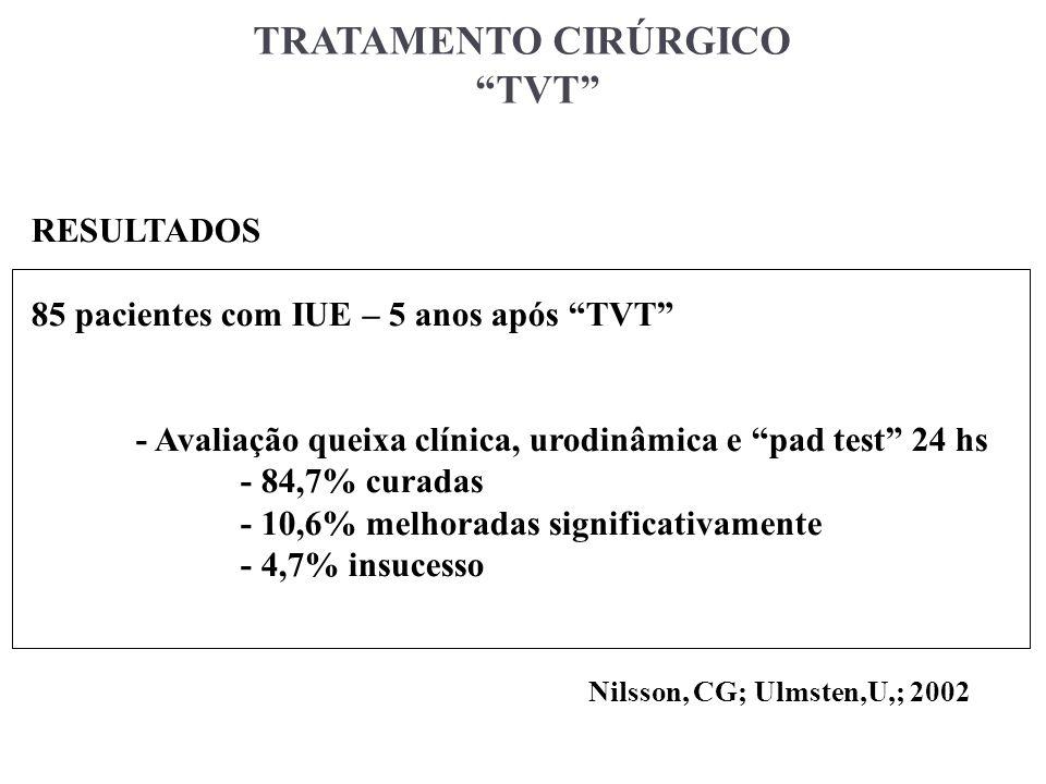 TRATAMENTO CIRÚRGICO TVT RESULTADOS 85 pacientes com IUE – 5 anos após TVT - Avaliação queixa clínica, urodinâmica e pad test 24 hs - 84,7% curadas -