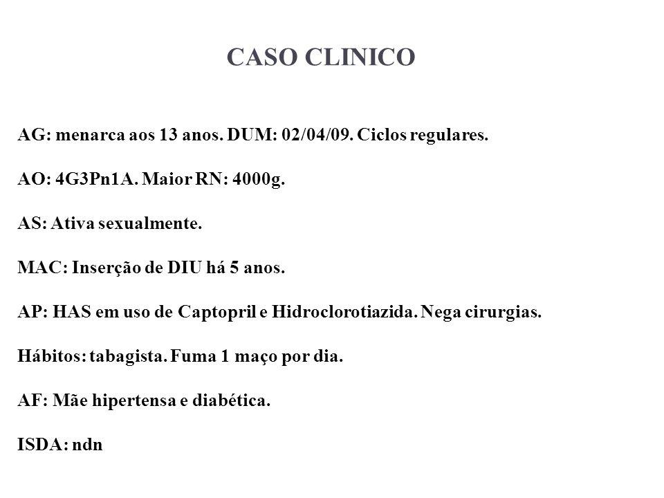 CASO CLINICO AG: menarca aos 13 anos. DUM: 02/04/09. Ciclos regulares. AO: 4G3Pn1A. Maior RN: 4000g. AS: Ativa sexualmente. MAC: Inserção de DIU há 5