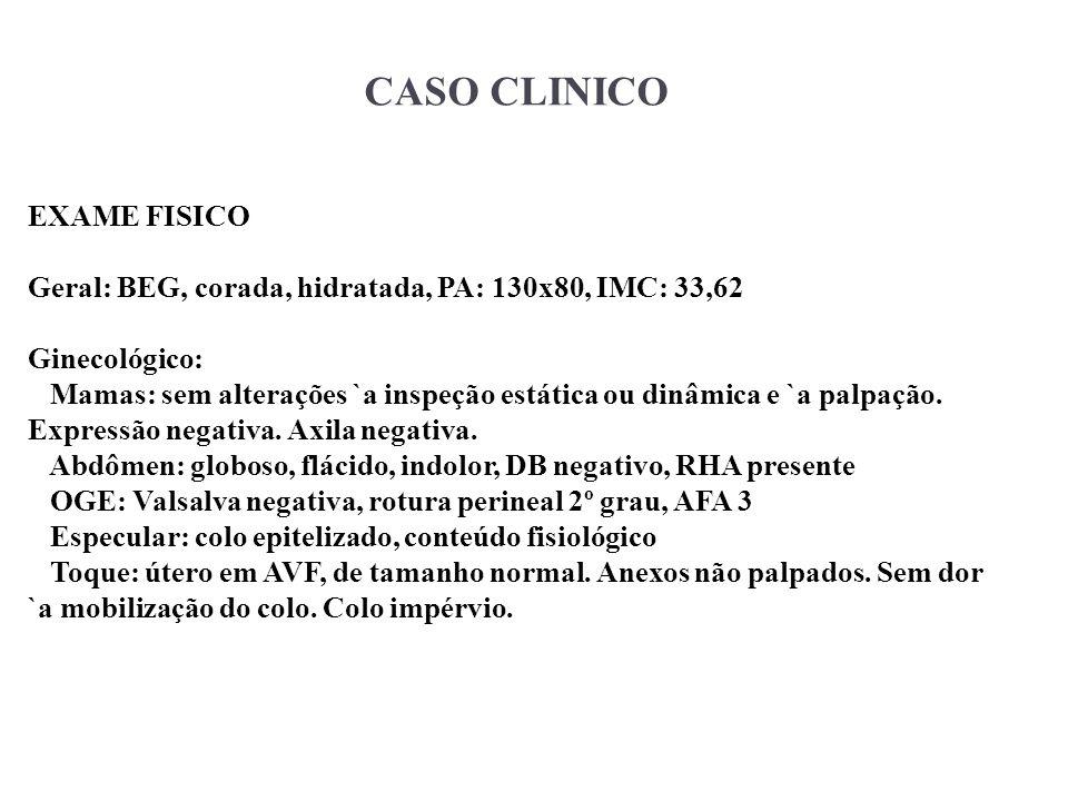 CASO CLINICO EXAME FISICO Geral: BEG, corada, hidratada, PA: 130x80, IMC: 33,62 Ginecológico: Mamas: sem alterações `a inspeção estática ou dinâmica e
