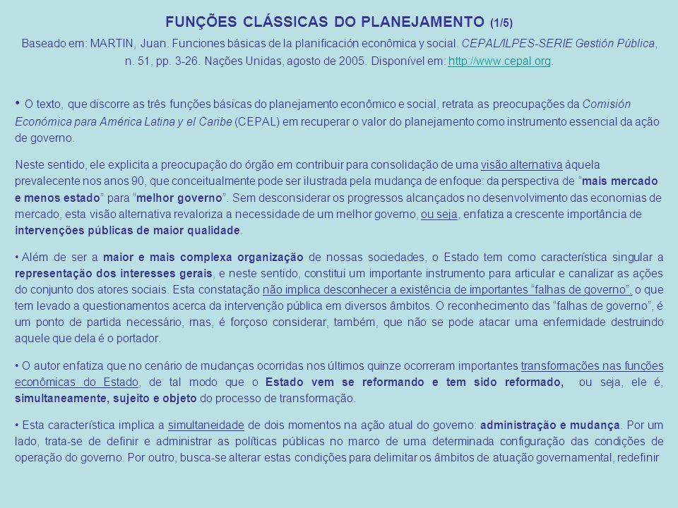 FUNÇÕES CLÁSSICAS DO PLANEJAMENTO (1/5) Baseado em: MARTIN, Juan.