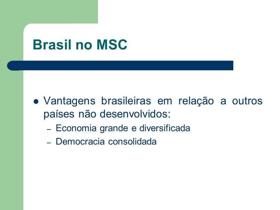 Brasil no MSC Vantagens brasileiras em relação a outros países não desenvolvidos: – Economia grande e diversificada – Democracia consolidada