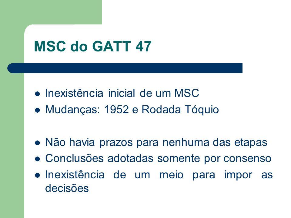 MSC do GATT 47 Inexistência inicial de um MSC Mudanças: 1952 e Rodada Tóquio Não havia prazos para nenhuma das etapas Conclusões adotadas somente por