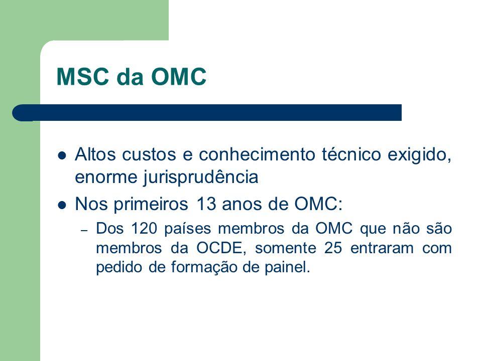MSC da OMC Altos custos e conhecimento técnico exigido, enorme jurisprudência Nos primeiros 13 anos de OMC: – Dos 120 países membros da OMC que não sã