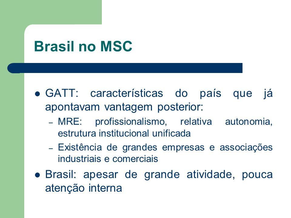 Brasil no MSC GATT: características do país que já apontavam vantagem posterior: – MRE: profissionalismo, relativa autonomia, estrutura institucional
