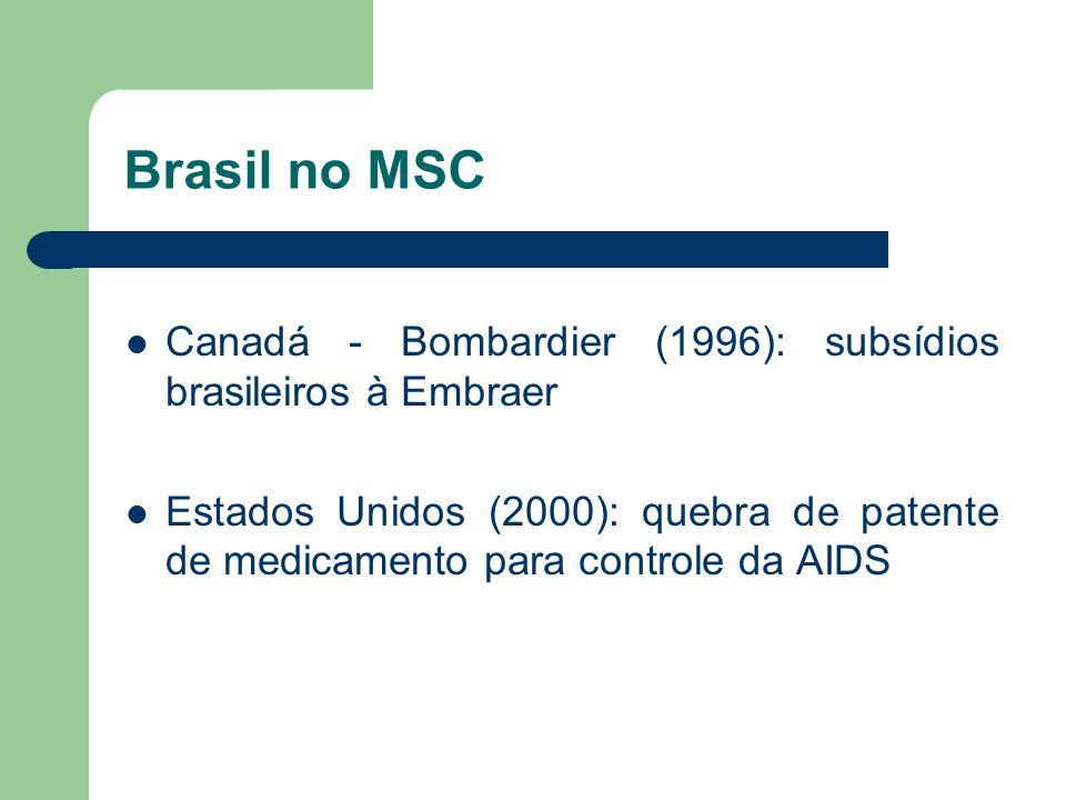 Brasil no MSC Canadá - Bombardier (1996): subsídios brasileiros à Embraer Estados Unidos (2000): quebra de patente de medicamento para controle da AID