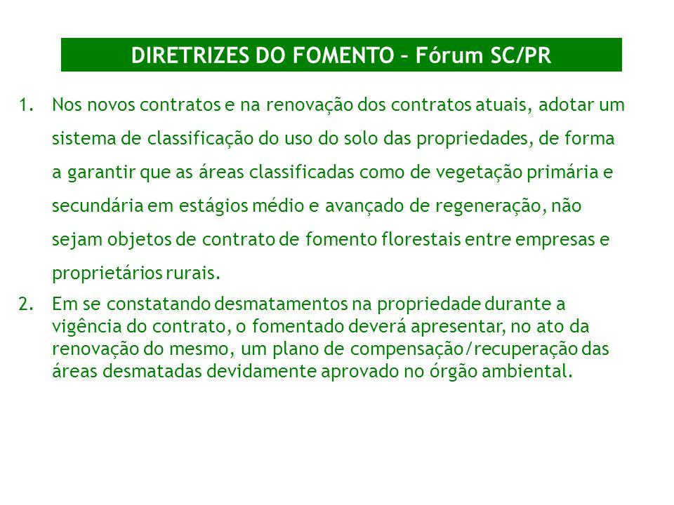 DIRETRIZES DO FOMENTO – Fórum SC/PR 1.Nos novos contratos e na renovação dos contratos atuais, adotar um sistema de classificação do uso do solo das p
