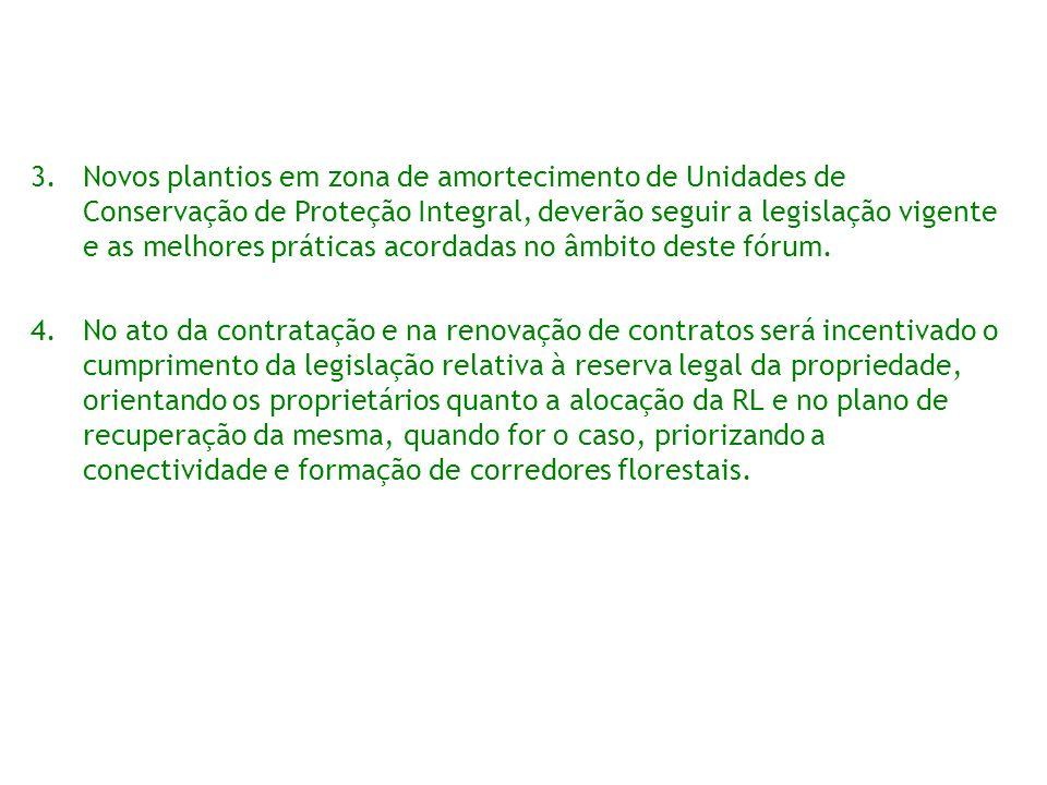 3.Novos plantios em zona de amortecimento de Unidades de Conservação de Proteção Integral, deverão seguir a legislação vigente e as melhores práticas