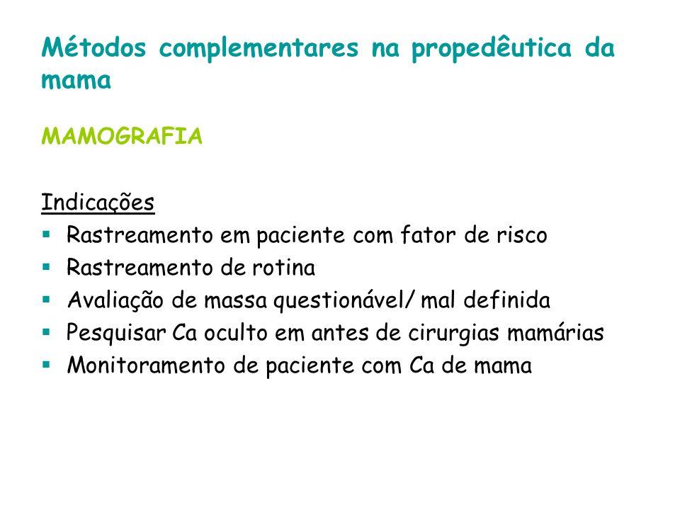 Métodos complementares na propedêutica da mama MAMOGRAFIA Indicações Rastreamento em paciente com fator de risco Rastreamento de rotina Avaliação de m