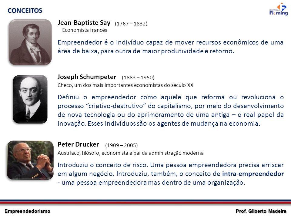 Empreendedorismo Prof. Gilberto Madeira Empreendedor é o indivíduo capaz de mover recursos econômicos de uma área de baixa, para outra de maior produt