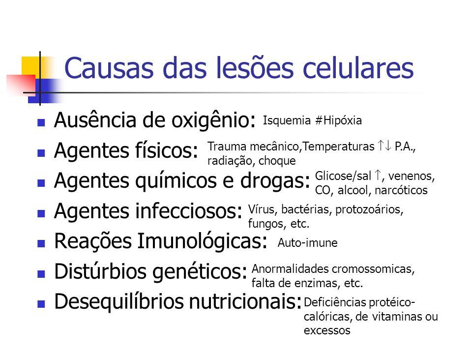 Causas das lesões celulares Ausência de oxigênio: Agentes físicos: Agentes químicos e drogas: Agentes infecciosos: Reações Imunológicas: Distúrbios ge