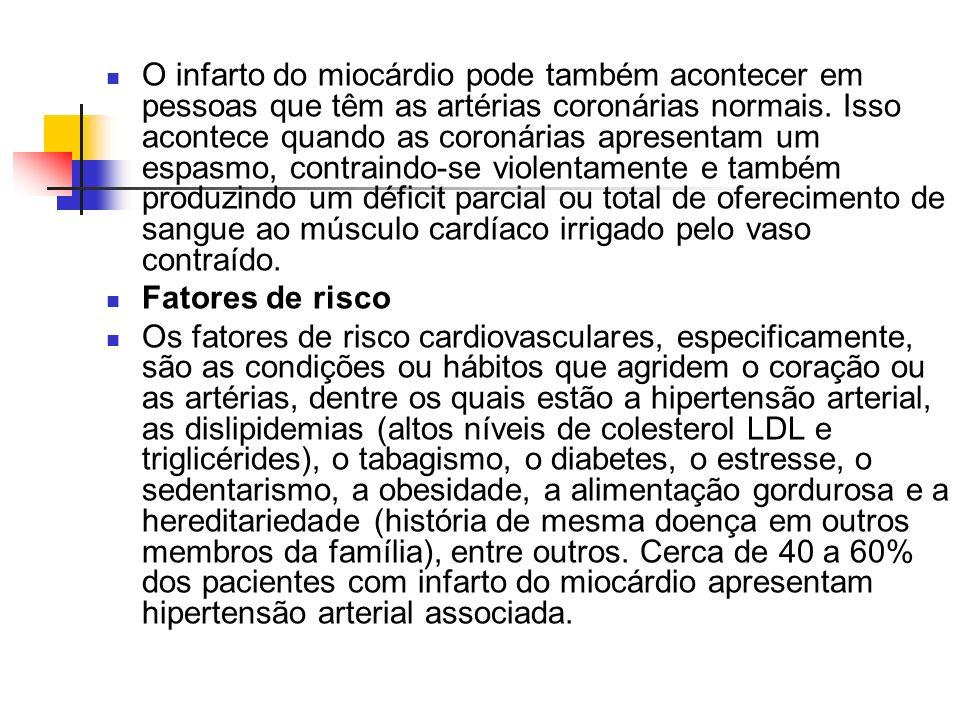 O infarto do miocárdio pode também acontecer em pessoas que têm as artérias coronárias normais. Isso acontece quando as coronárias apresentam um espas