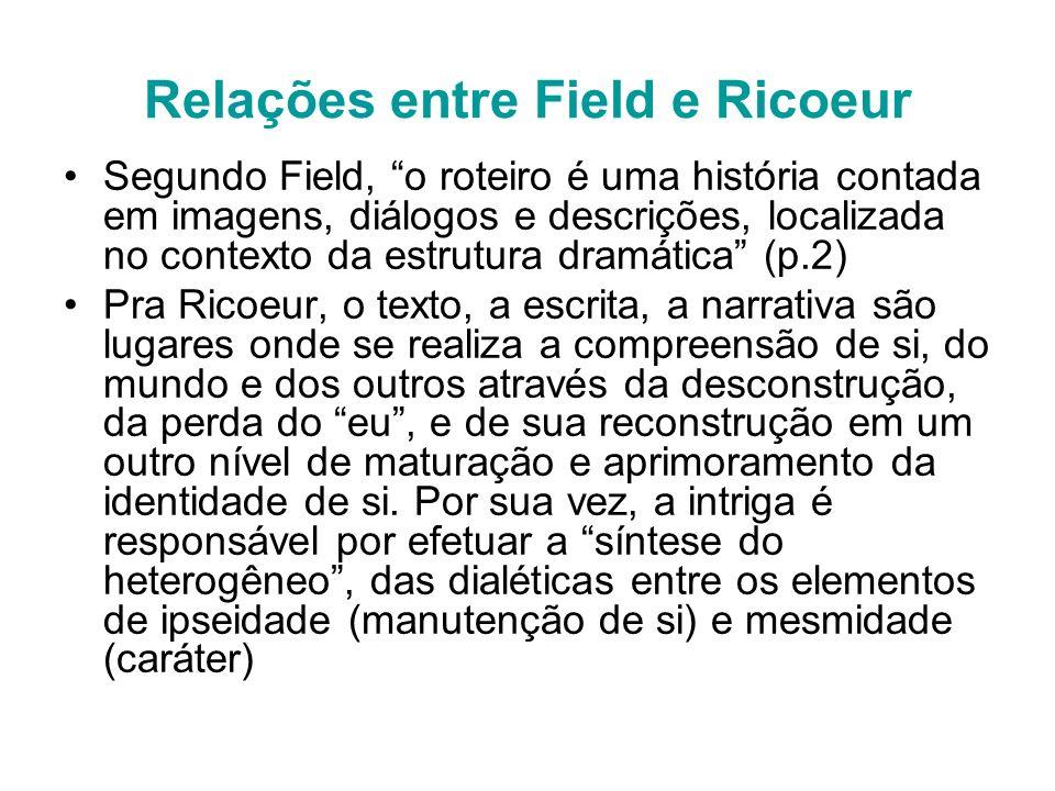 Relações entre Field e Ricoeur Segundo Field, o roteiro é uma história contada em imagens, diálogos e descrições, localizada no contexto da estrutura