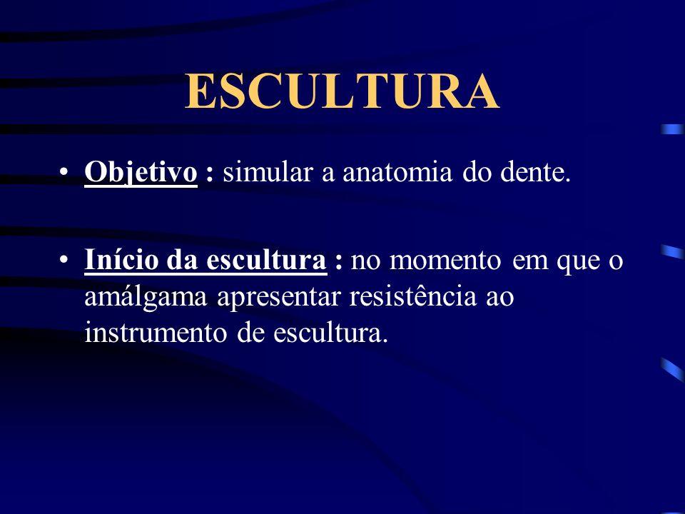 ESCULTURA Objetivo : simular a anatomia do dente. Início da escultura : no momento em que o amálgama apresentar resistência ao instrumento de escultur