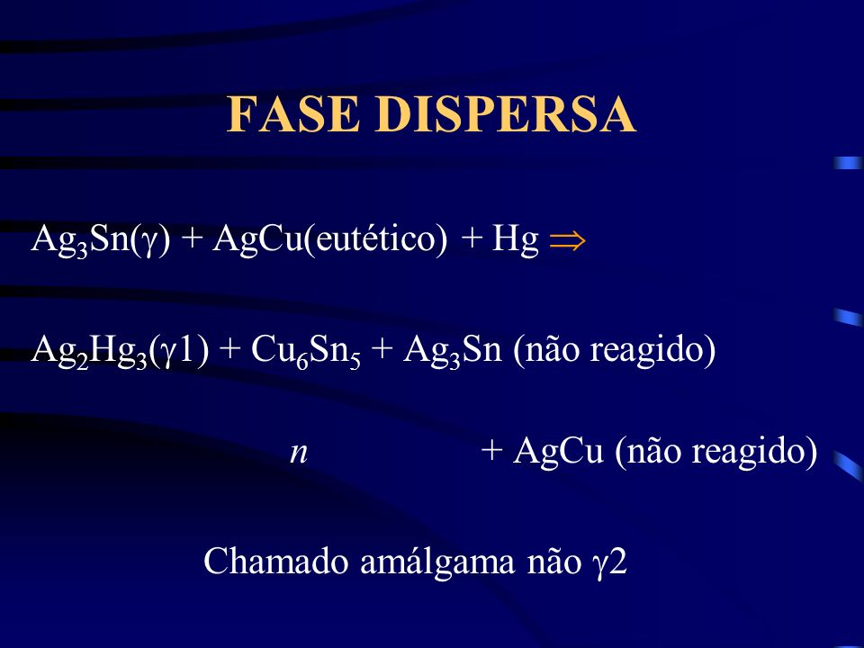 FASE DISPERSA Ag 3 Sn( ) + AgCu(eutético) + Hg Ag 2 Hg 3 ( 1) + Cu 6 Sn 5 + Ag 3 Sn (não reagido) n + AgCu (não reagido) Chamado amálgama não 2