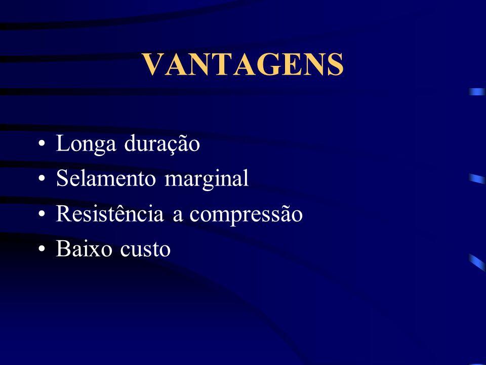VANTAGENS Longa duração Selamento marginal Resistência a compressão Baixo custo