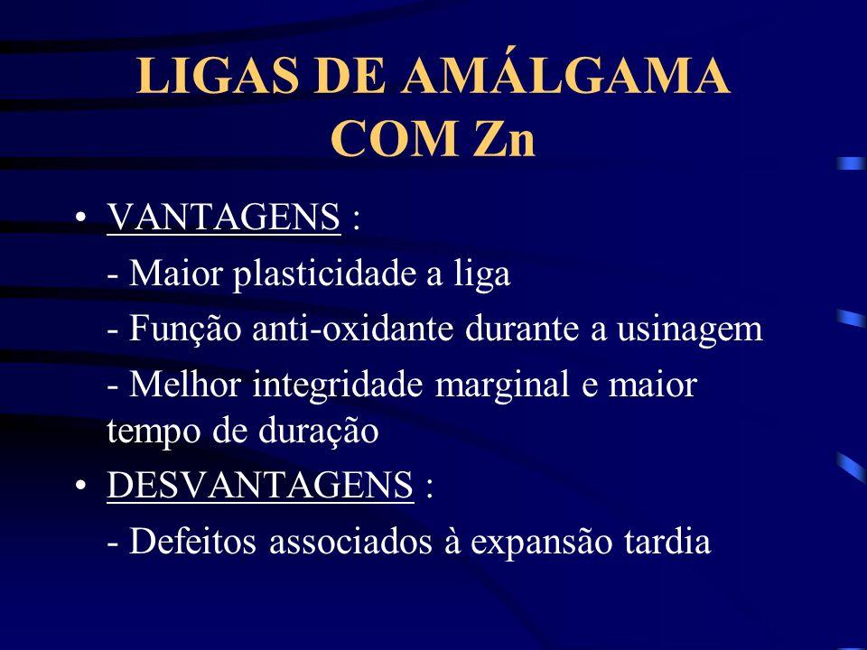 LIGAS DE AMÁLGAMA COM Zn VANTAGENS : - Maior plasticidade a liga - Função anti-oxidante durante a usinagem - Melhor integridade marginal e maior tempo