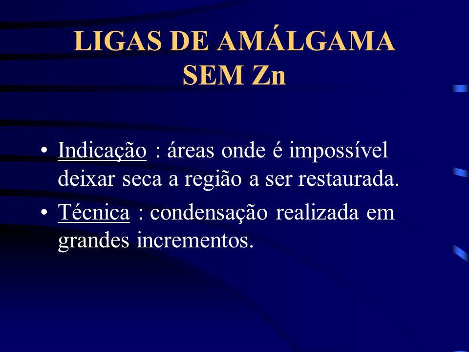 LIGAS DE AMÁLGAMA SEM Zn Indicação : áreas onde é impossível deixar seca a região a ser restaurada.