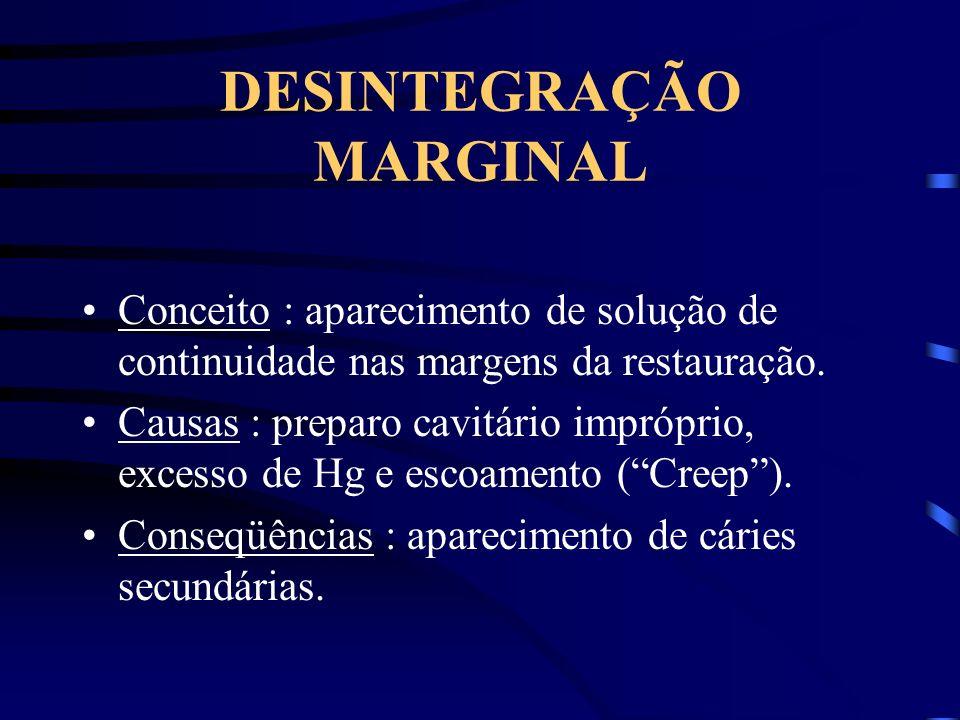 DESINTEGRAÇÃO MARGINAL Conceito : aparecimento de solução de continuidade nas margens da restauração. Causas : preparo cavitário impróprio, excesso de