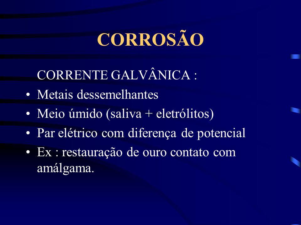 CORROSÃO CORRENTE GALVÂNICA : Metais dessemelhantes Meio úmido (saliva + eletrólitos) Par elétrico com diferença de potencial Ex : restauração de ouro contato com amálgama.
