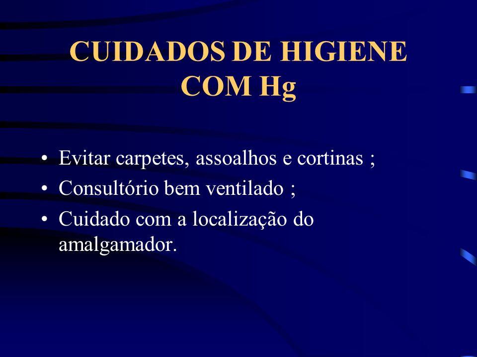 CUIDADOS DE HIGIENE COM Hg Evitar carpetes, assoalhos e cortinas ; Consultório bem ventilado ; Cuidado com a localização do amalgamador.