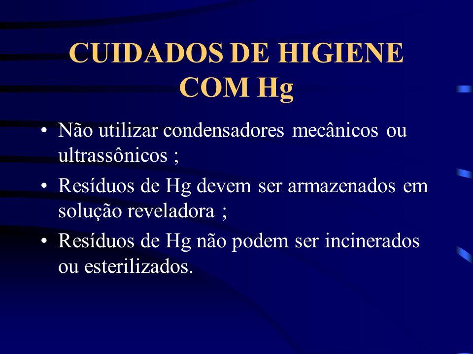 CUIDADOS DE HIGIENE COM Hg Não utilizar condensadores mecânicos ou ultrassônicos ; Resíduos de Hg devem ser armazenados em solução reveladora ; Resídu