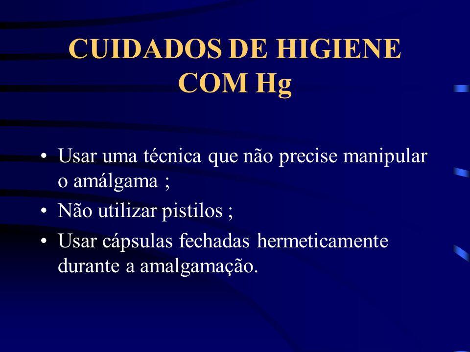 CUIDADOS DE HIGIENE COM Hg Usar uma técnica que não precise manipular o amálgama ; Não utilizar pistilos ; Usar cápsulas fechadas hermeticamente durante a amalgamação.