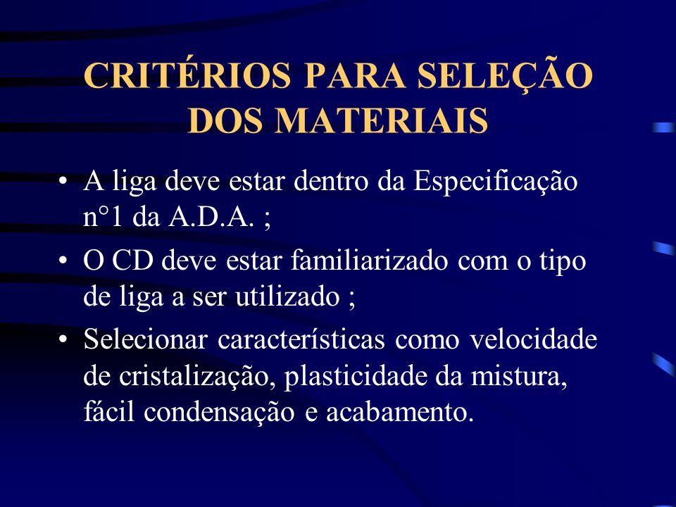 CRITÉRIOS PARA SELEÇÃO DOS MATERIAIS A liga deve estar dentro da Especificação n°1 da A.D.A. ; O CD deve estar familiarizado com o tipo de liga a ser