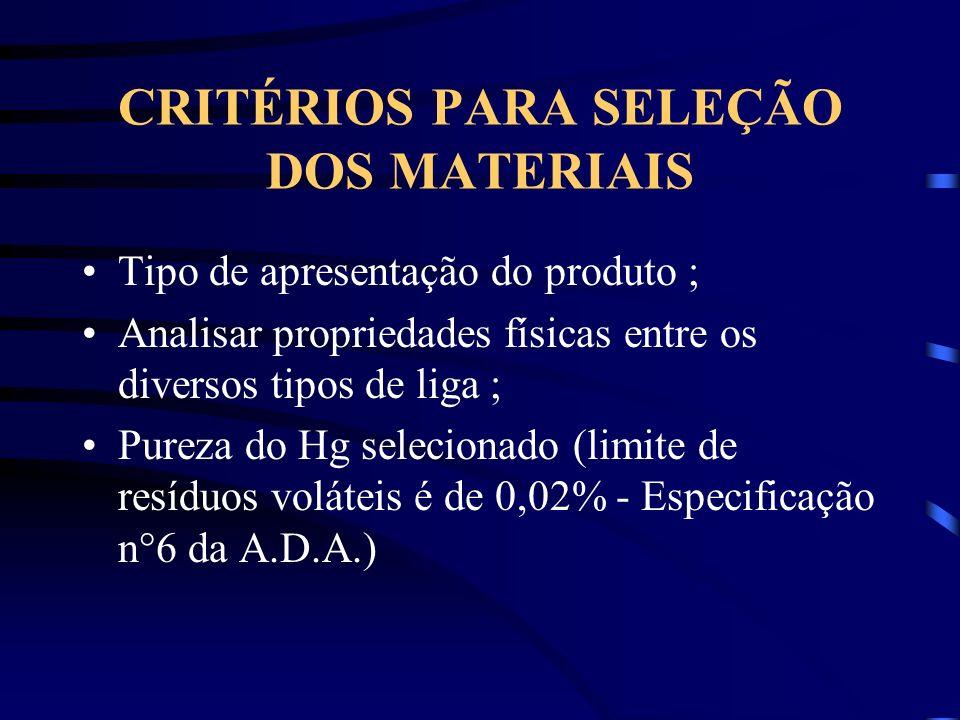 CRITÉRIOS PARA SELEÇÃO DOS MATERIAIS Tipo de apresentação do produto ; Analisar propriedades físicas entre os diversos tipos de liga ; Pureza do Hg selecionado (limite de resíduos voláteis é de 0,02% - Especificação n°6 da A.D.A.)