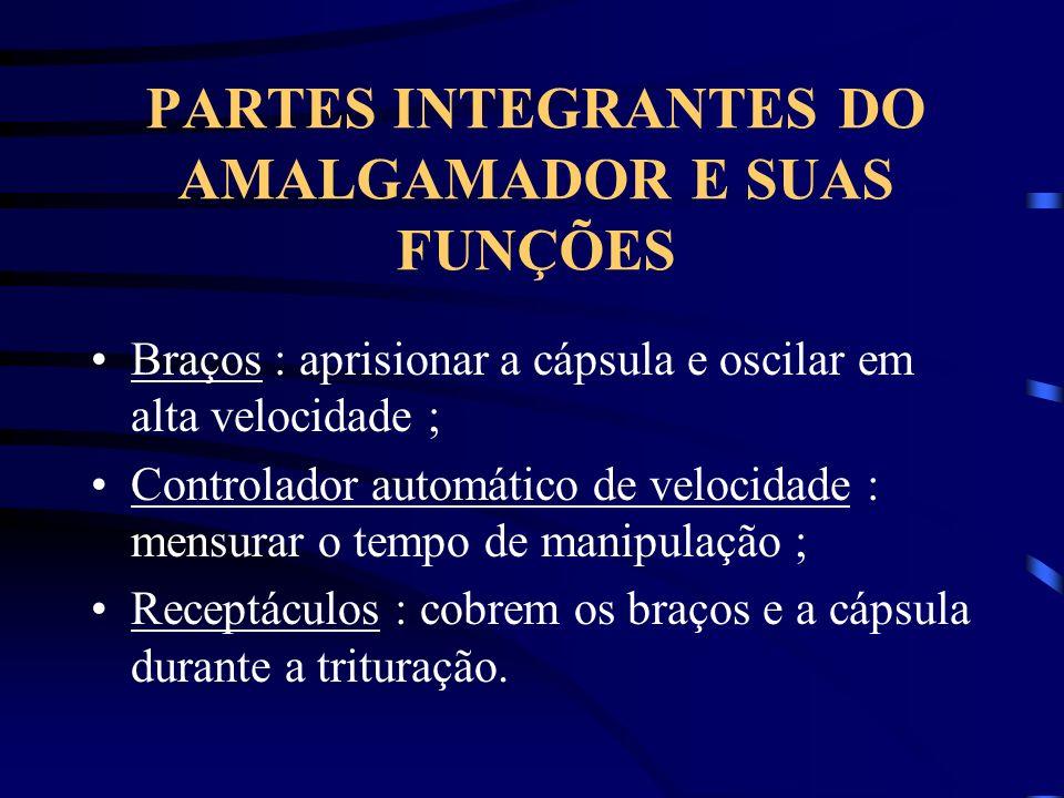 PARTES INTEGRANTES DO AMALGAMADOR E SUAS FUNÇÕES Braços : aprisionar a cápsula e oscilar em alta velocidade ; Controlador automático de velocidade : m