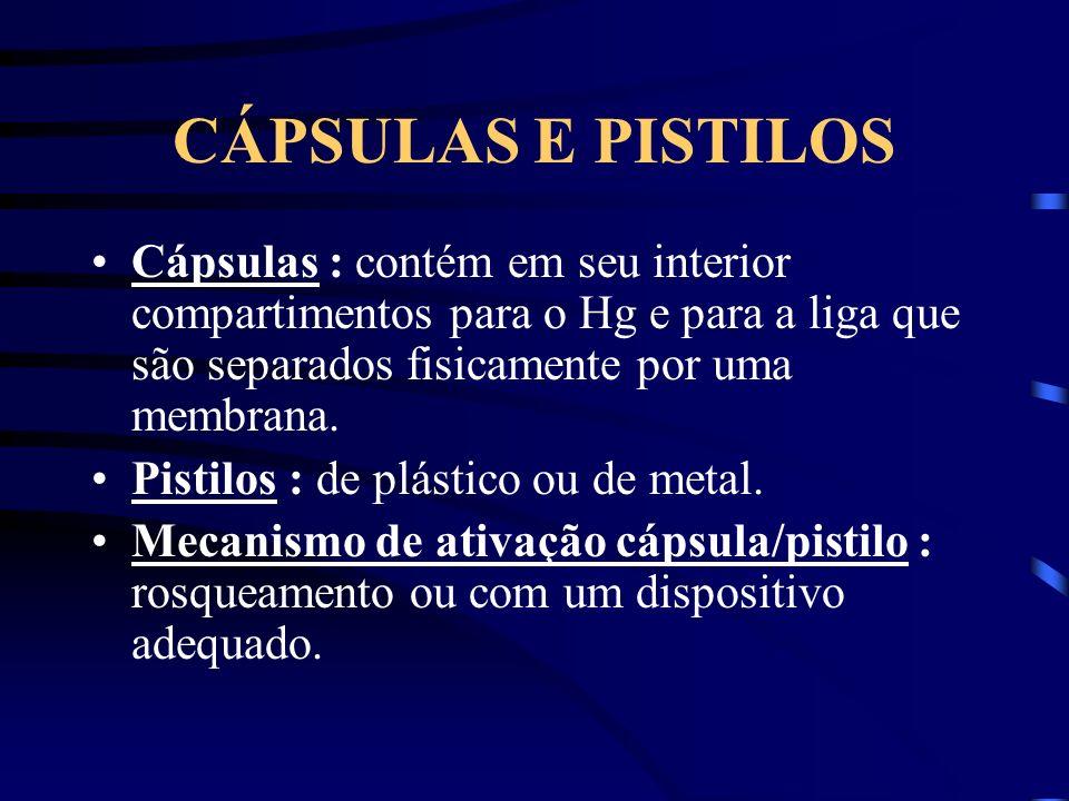 CÁPSULAS E PISTILOS Cápsulas : contém em seu interior compartimentos para o Hg e para a liga que são separados fisicamente por uma membrana. Pistilos