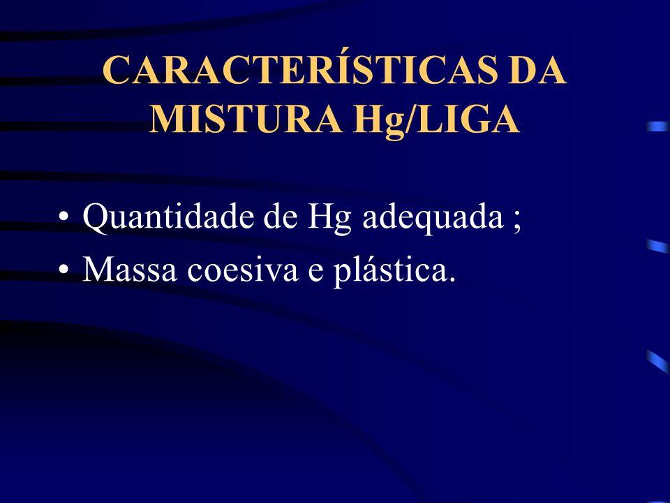 CARACTERÍSTICAS DA MISTURA Hg/LIGA Quantidade de Hg adequada ; Massa coesiva e plástica.
