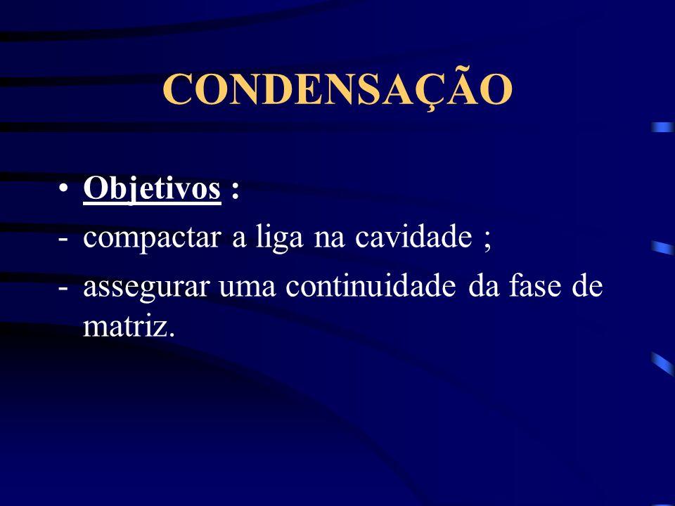 CONDENSAÇÃO Objetivos : -compactar a liga na cavidade ; -assegurar uma continuidade da fase de matriz.