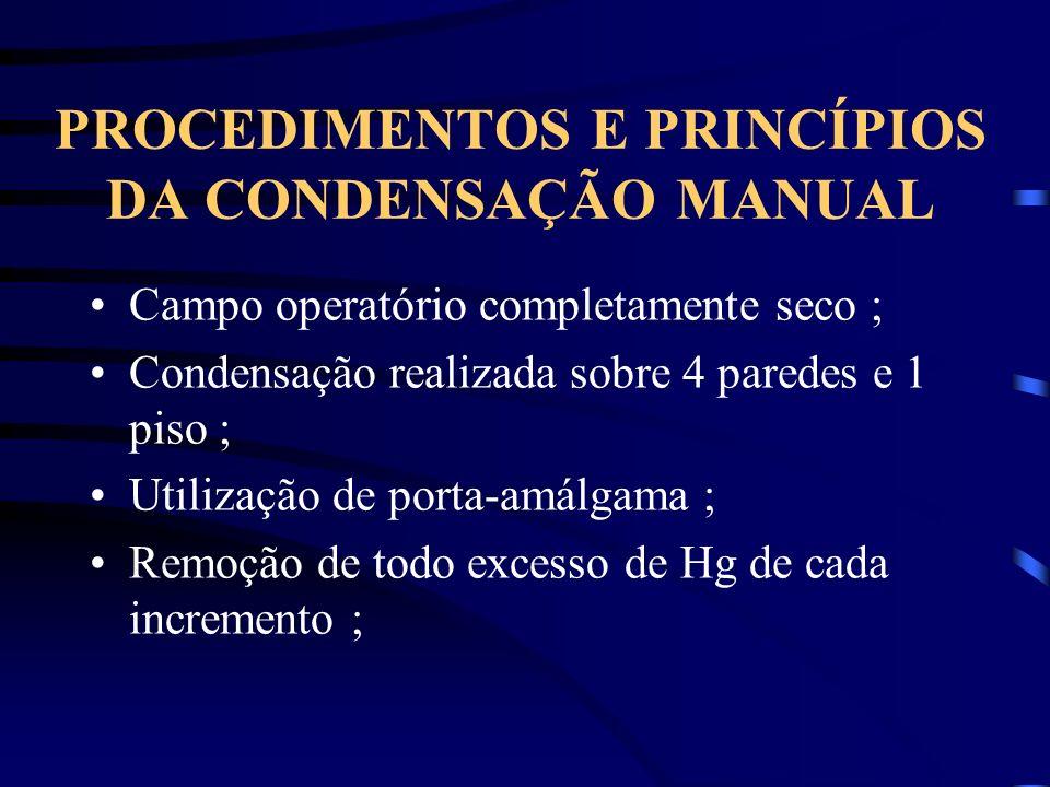 PROCEDIMENTOS E PRINCÍPIOS DA CONDENSAÇÃO MANUAL Campo operatório completamente seco ; Condensação realizada sobre 4 paredes e 1 piso ; Utilização de