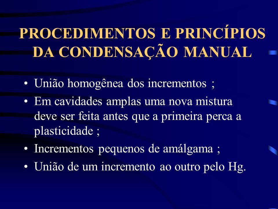 PROCEDIMENTOS E PRINCÍPIOS DA CONDENSAÇÃO MANUAL União homogênea dos incrementos ; Em cavidades amplas uma nova mistura deve ser feita antes que a pri