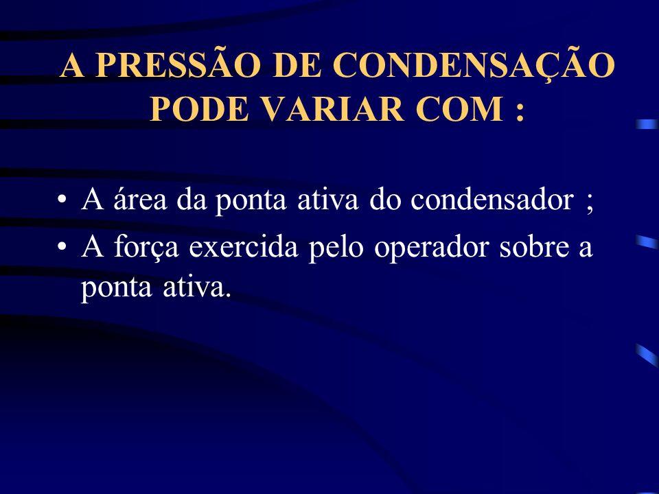 A PRESSÃO DE CONDENSAÇÃO PODE VARIAR COM : A área da ponta ativa do condensador ; A força exercida pelo operador sobre a ponta ativa.