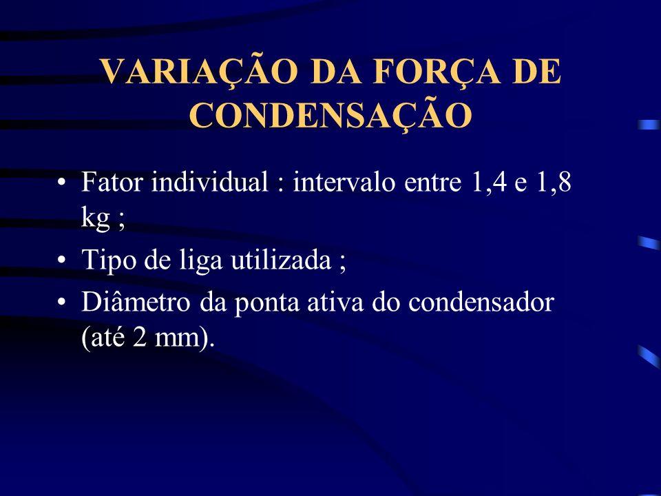VARIAÇÃO DA FORÇA DE CONDENSAÇÃO Fator individual : intervalo entre 1,4 e 1,8 kg ; Tipo de liga utilizada ; Diâmetro da ponta ativa do condensador (até 2 mm).