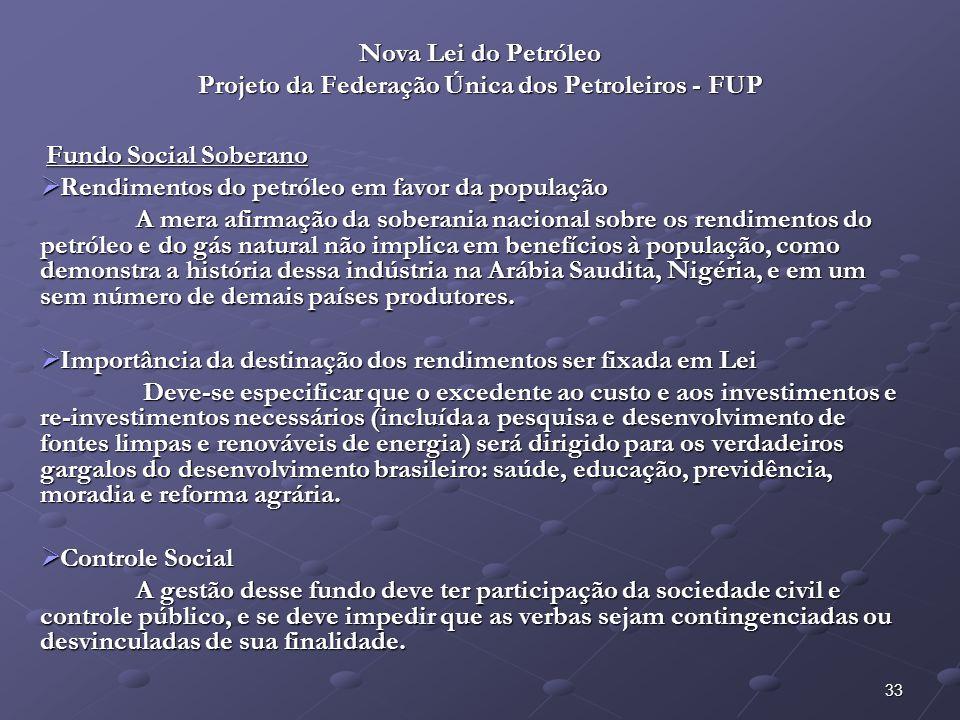 34 Nova Lei do Petróleo Projeto da Federação Única dos Petroleiros - FUP Fundo Social Soberano – Artigos: Fundo Social Soberano – Artigos: Art.