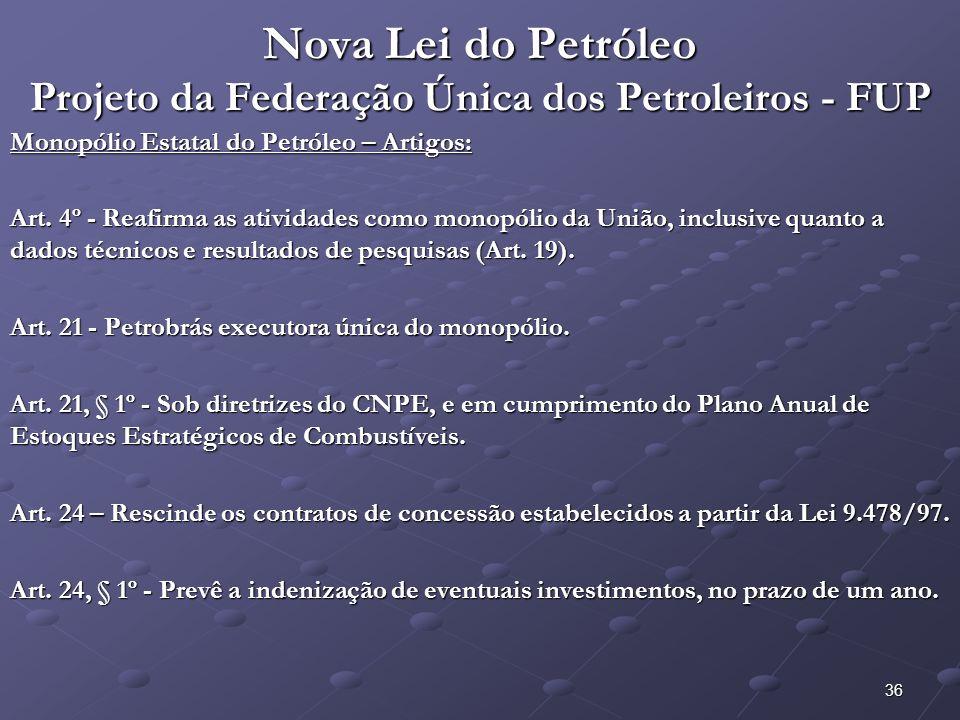 36 Nova Lei do Petróleo Projeto da Federação Única dos Petroleiros - FUP Monopólio Estatal do Petróleo – Artigos: Art. 4º - Reafirma as atividades com
