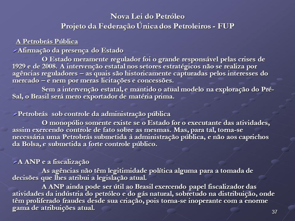 38 Nova Lei do Petróleo Projeto da Federação Única dos Petroleiros - FUP A Petrobrás Pública – Artigos: A Petrobrás Pública – Artigos: Art.