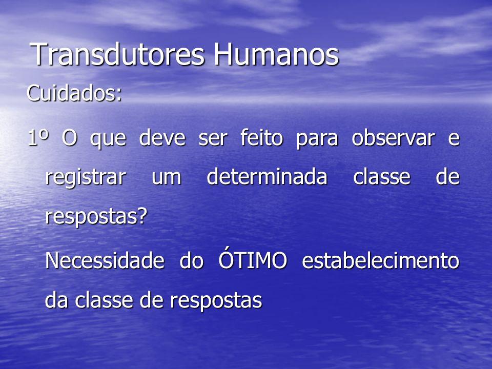 Transdutores Humanos Cuidados: 1º O que deve ser feito para observar e registrar um determinada classe de respostas? Necessidade do ÓTIMO estabelecime