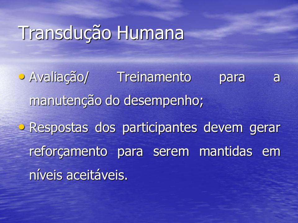 Transdução Humana Avaliação/ Treinamento para a manutenção do desempenho; Avaliação/ Treinamento para a manutenção do desempenho; Respostas dos partic