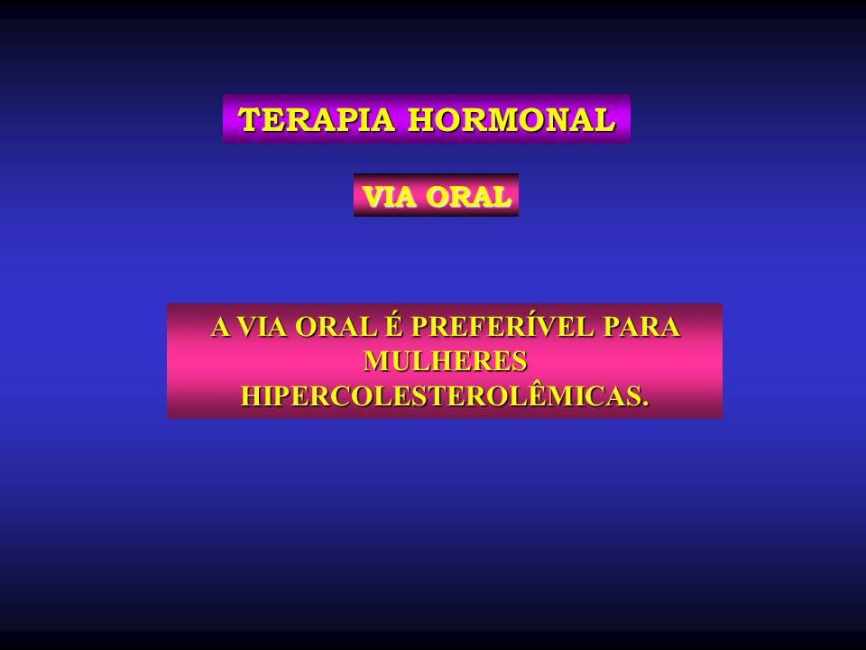 A VIA ORAL É PREFERÍVEL PARA MULHERES HIPERCOLESTEROLÊMICAS. TERAPIA HORMONAL VIA ORAL
