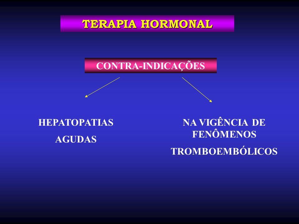 CONTRA-INDICAÇÕES TERAPIA HORMONAL HEPATOPATIAS AGUDAS NA VIGÊNCIA DE FENÔMENOS TROMBOEMBÓLICOS