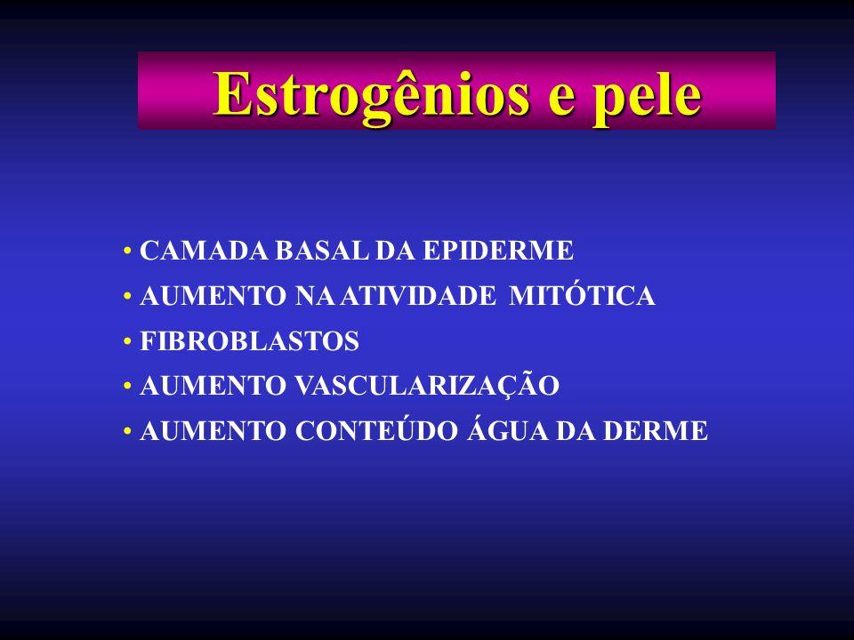 CAMADA BASAL DA EPIDERME AUMENTO NA ATIVIDADE MITÓTICA FIBROBLASTOS AUMENTO VASCULARIZAÇÃO AUMENTO CONTEÚDO ÁGUA DA DERME Estrogênios e pele
