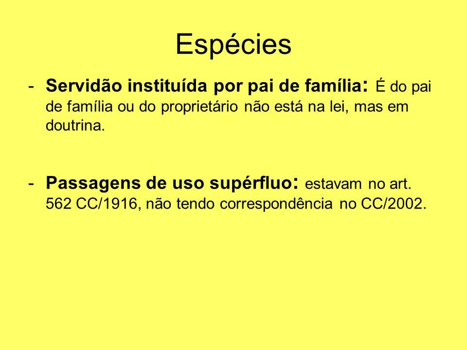 Espécies -Servidão instituída por pai de família : É do pai de família ou do proprietário não está na lei, mas em doutrina. -Passagens de uso supérflu