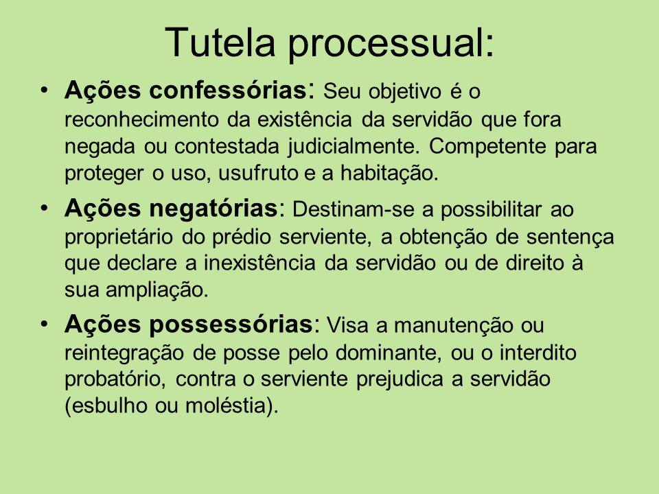 Tutela processual: Ações confessórias : Seu objetivo é o reconhecimento da existência da servidão que fora negada ou contestada judicialmente. Compete