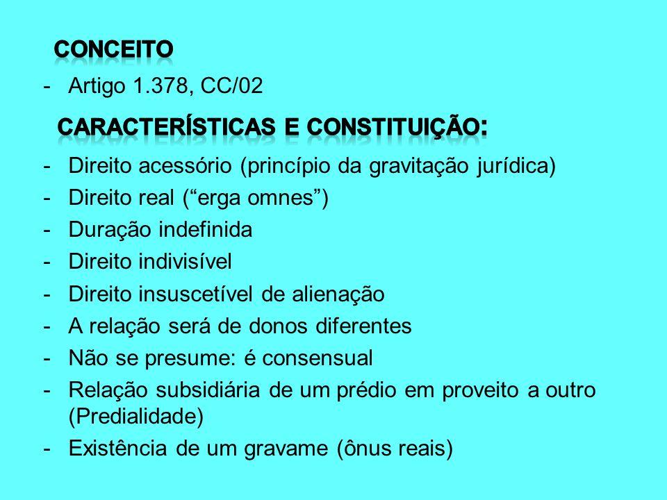 -Artigo 1.378, CC/02 - Direito acessório (princípio da gravitação jurídica) - Direito real (erga omnes) - Duração indefinida - Direito indivisível - D