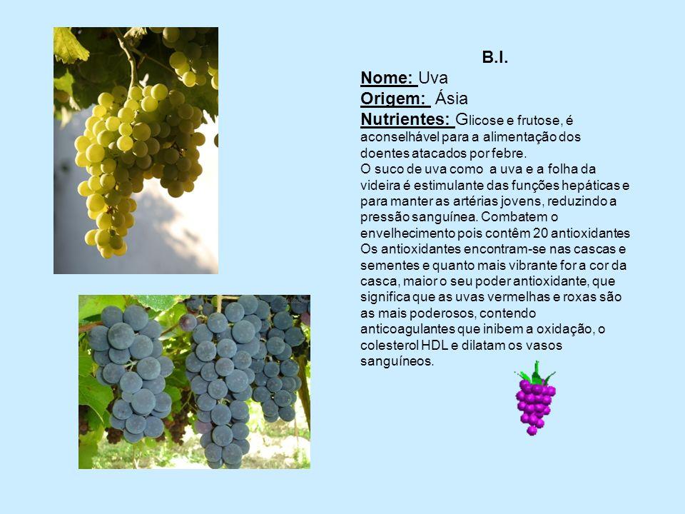 B.I. Nome: Uva Origem: Ásia Nutrientes: G licose e frutose, é aconselhável para a alimentação dos doentes atacados por febre. O suco de uva como a uva